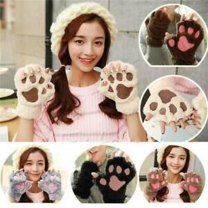 Winter-Women-Cute-Cat-Paw-Claw-Plush-Mittens-Short-Fingerless-Half-Finger-Gloves