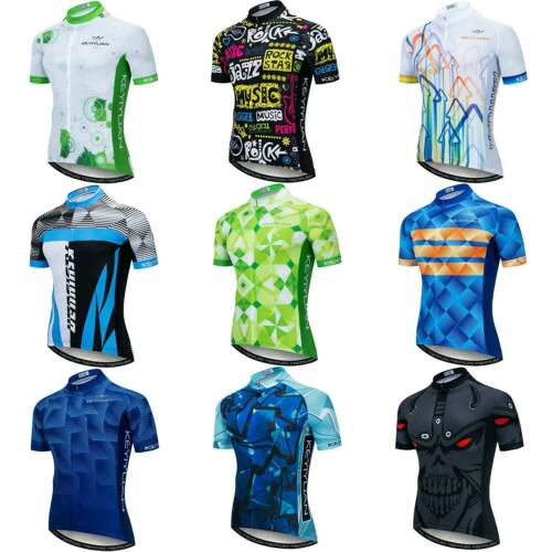 Men's Reflective Cycling Jersey Bike Bicycle Cycle Shirt Top with Zip Pocket