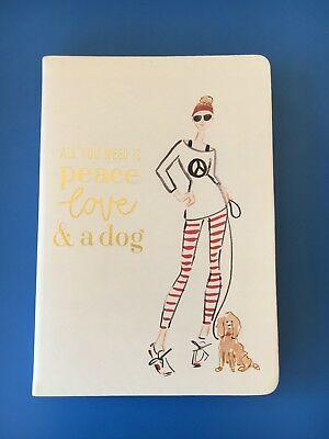 Creativo Eccolo A5 Notebook-all You Need Is Peace Love & Un Cane-nuovo-mostra Il Titolo Originale