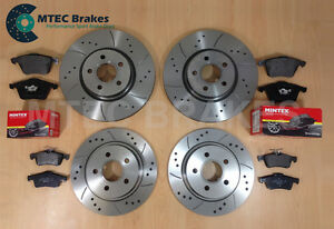 Ford-Focus-ST225-2-5-MTEC-Drilled-Grooved-Brake-Discs-Front-Rear-amp-Mintex-Pads