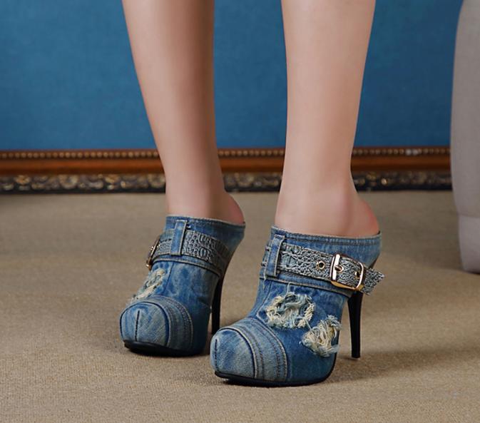Femme Vintage Bout Rond Denim Boucle Stilettos Chaton Talons chaussures Mules à Enfiler
