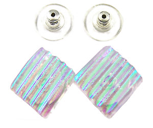 DICHROIC-Post-EARRINGS-1-2-034-12mm-Clear-Green-Verdigris-Stripes-Fused-GLASS-STUDS