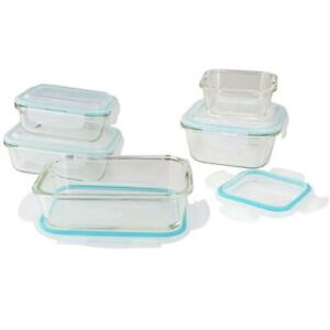 5pc-Glass-Storage-Containers-Boxes-Box-Kitchen-Food-Airtight-Tupperware-Clip-Lid
