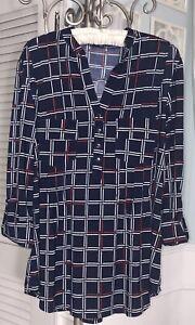 NEW-Plus-Size-2X-Blue-Pin-Tuck-Top-Jersey-Shirt-Blouse