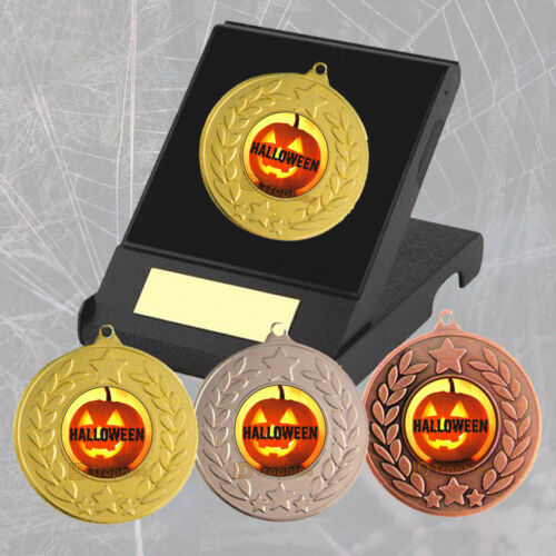 Bats Engraved Halloween Trophy Pumpkins Halloween Medal in Box Witches