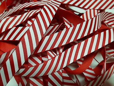 Christmas Ribbon Red Candy Stripe Grosgrain Ribbon Bertie's Bows 16mm BTB131