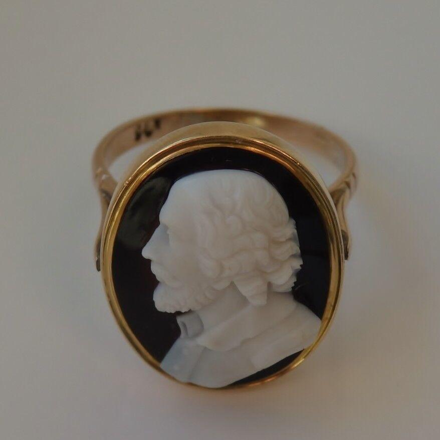 Bell 'antico vittoriano 9ct 9ct 9ct oro agata anello con Cameo DI SIR Walter Raleigh c1890 04a538