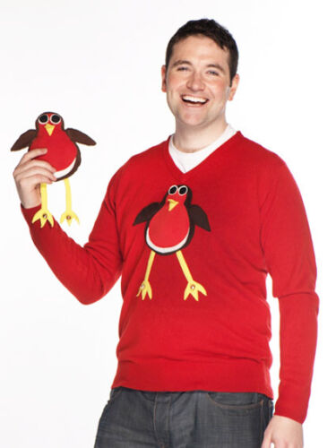Handmade Unisex V Neck Rudolph Reindeer Robin Squeaky Jingly Christmas Jumpers