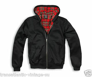 BRANDIT LORD CANTERBURY HOODED HARRINGTON MOD SKIN ROCKABILLY JACKET BLACK
