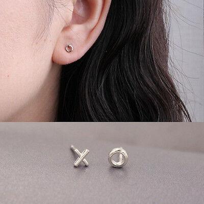 Simple Women Tiny XO Shaped Post Earrings Delicate Charm Ear Stud Jewelry Gift