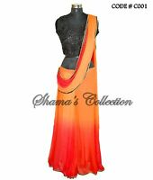 Bollywood Designer Indian Pakistani Stitched Saree-red-orange-black Ombre Sarees