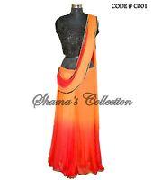 Bollywood Designer Indian Pakistani Stitched Saree-red-orange-black Ombre Sarees