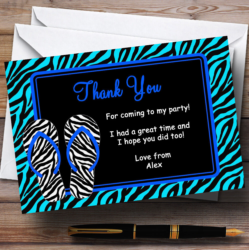 Blau Flip Flop Beach Pool Swimming Personalised Birthday Party Thank You Cards