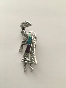 Vintage Native American Sterling Silver Kokopelli Brooch or Pin with Onyx and Fire Opal Inlay Signed Sterling