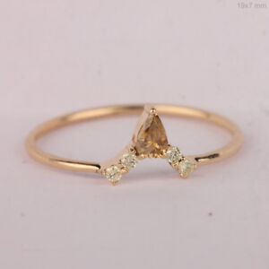 14k-Yellow-Gold-Natural-Chevron-Design-Diamond-Delicate-Wedding-Ring-Jewelry-NEW