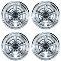 Golf Cart 8 Chrome ss Wheel Covers Hub Caps - (set Of 4)