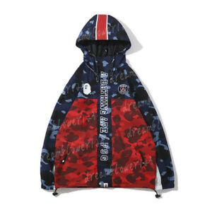 Cool-A-Bathing-Ape-Camo-Shark-Head-Bape-Blue-Red-Windbreaker-Hoodie-Jacket-Coats