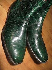 Rare Men's Custom Green American Alligator Ankle Boot Dress Formal Shoe Size 10