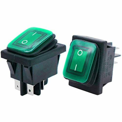 Twidec//2Pcs Waterproof 16A 250V 20A 125V 4 Pins Position ON//Off DPST DC12V Green