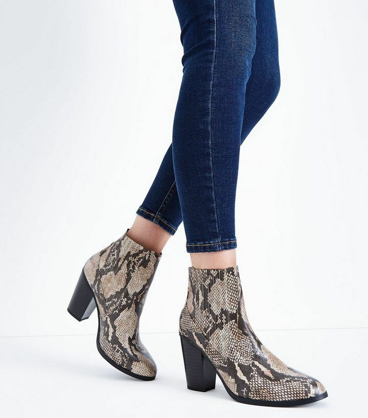 New Look Brand New Wide Wide Wide Fit braun Faux Snakeskin Heeled Stiefel Größe UK 5 a7b413