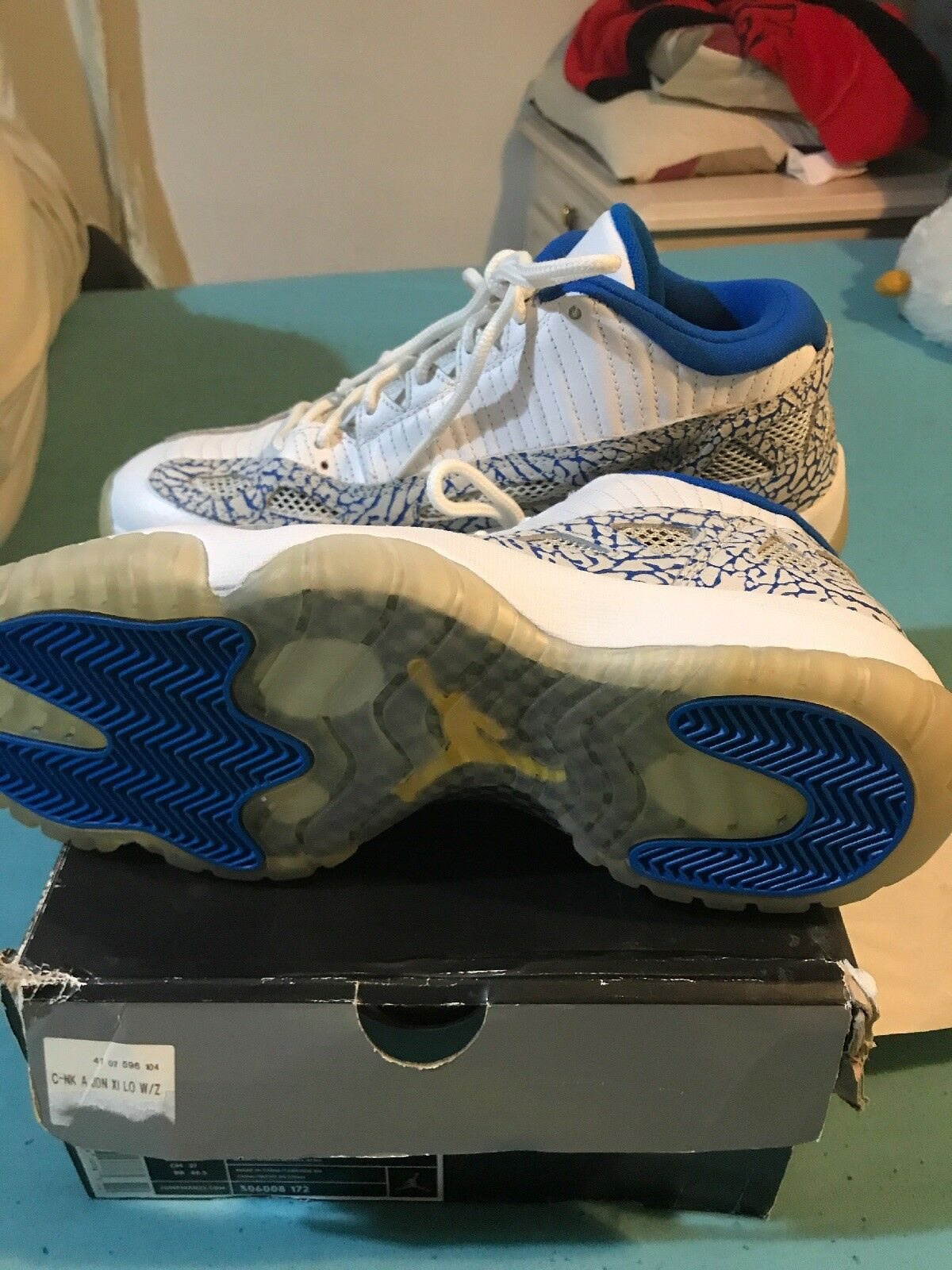 Air Jordan 11 Low Retro Jumpman In Weiß and and and Blau With Elephant Print Uk 8 1b48f2