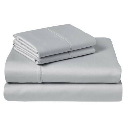 Silver { Solid } 100/% Cotton Sheet Set Size /& Deep Pocket 1000TC Free Delivery