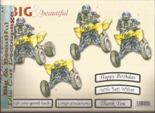 051-572 Quad Bike//Birthday A4 Die Cut 3D Decoupage Sheet