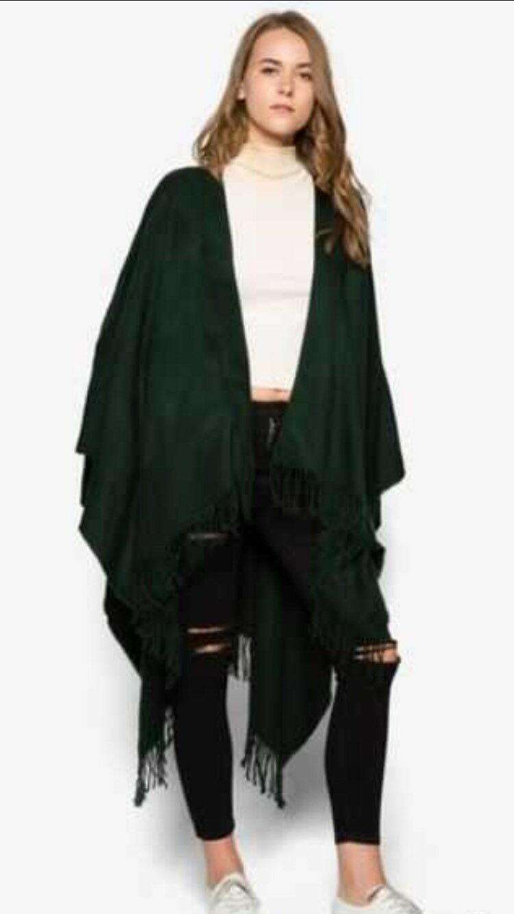 TOPSHOP GREEN SUPER SOFT CAPE ONE SIZE (B23)