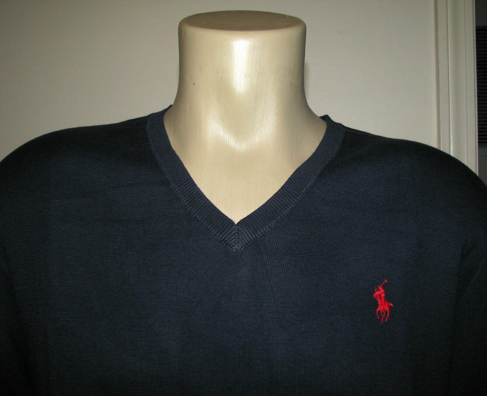 Herren (XL) Polo-Ralph Lauren Marineblau Pima Baumwolle V Auschnitt Pullover