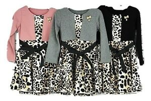 3c504d4f6b Girls Leopard Print Dress Kids Bolero Style Winter Clothing Age 3-14 ...