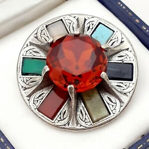 RARE-Signed-MIRACLE-Vintage-Topaz-Celtic-Scottish-Faux-Gemstone-Brooch-Pin