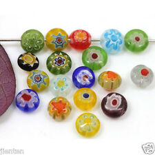 50Pcs Mixed Flat Shape Millefiori Glass Loose Space Beads Charms Jewelry DIY 6mm