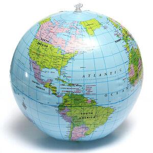 38CM-Palla-Pallone-da-Mare-Gonfiabile-Mappamondo-Con-Mondo-Globo-Geografico