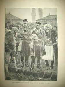 MONTENEGRO-VOIVODE-PLAMENAZ-MINISTRE-DE-LA-GUERRE-ALBANIE-BRIGANDS-GRAVURES-1880