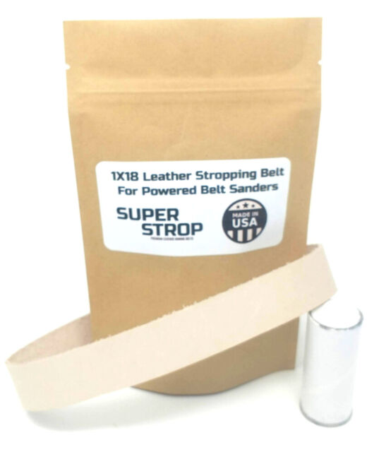 1X42 Assorted Belt Kit w// Super Strop Leather Honing Belt Buffing Compound Incl.