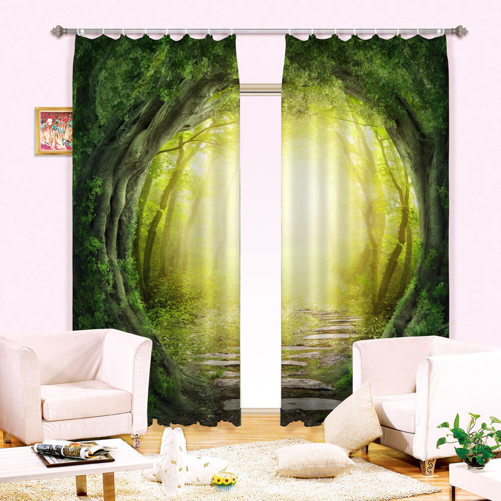3D Curtain 2 Panels Set Drapes Fabric Window--Forest Tree Tunnel Scenic Style