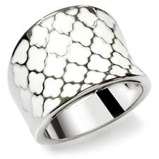 HCJEWELRY STAINLESS STEEL WHITE ENAMEL CLOVER FASHION STATEMENT RING SIZE 9