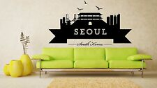 Wall Vinyl Sticker Decal Skyline Horizon Panorama City Seoul Korea World F1800