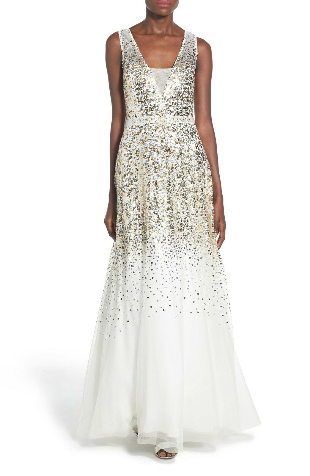 NEW BEE DARLIN 'Blythe' Sequin Ball Gown DRESS SIZE 1 2 (1) IVORY NORDSTROM