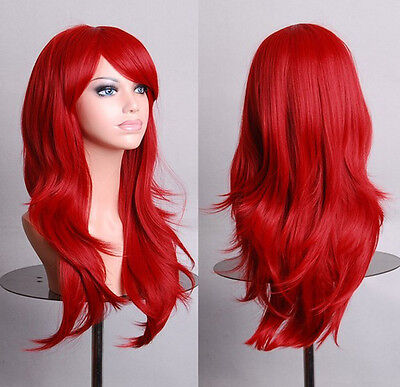 Sexy Women Heart Kairi Red Hair Cosplay Party Costume Long Curly Wave Wigs +Caps