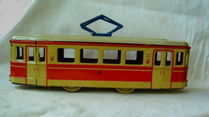 Old tin toy toy toy model tram friction mechanism DDR Germany 1950's RARE e1aae7
