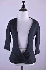 ANTHROPOLOGIE WOODEN SHIPS Sz S/M Black Wool Mohair Blend Twist Front Sweater !