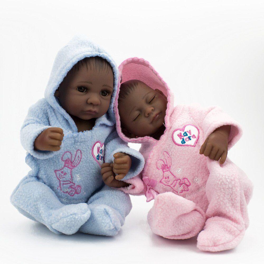 10  TWINS realistico africana bambina bambino  bambini regalo fatto a uomoo Reborn BEBE NEONATO  solo per te
