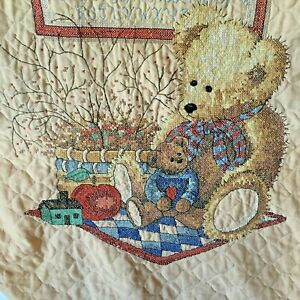 Vintage-Baby-Crib-Quilt-Cross-Stitched-Bears-with-Sampler-Wall-Hanging