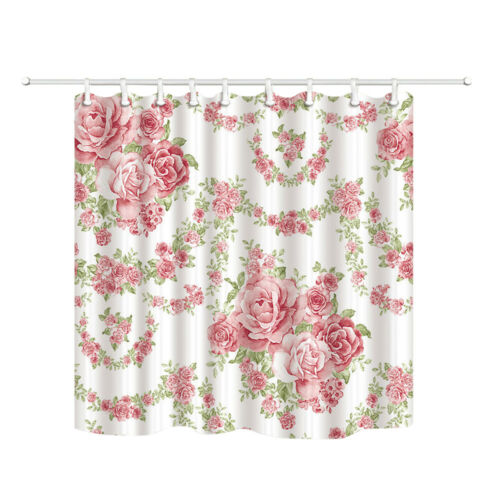 4Pcs Pink Roses Bathroom Shower Curtain Non Slip Toilet Lid Cover Rugs Bath Mat