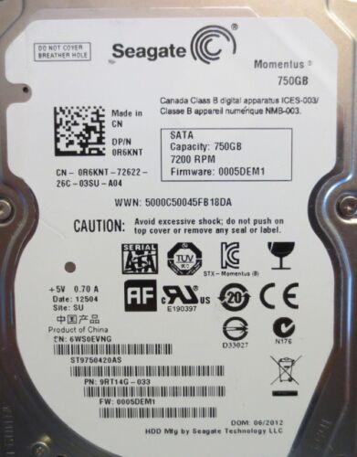 ST9750420AS 9RT14G-033 FW:0005DEM1 750gb Sata Laptop drive