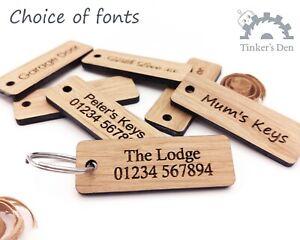 Personalised-Key-Ring-Oak-Keyring-Engraved-Wooden-Key-Fob-Custom-Keyring