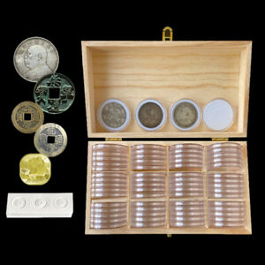 60pcs-46mm-Coin-Capsule-Round-amp-Wooden-Storage-Box-Collection-Display-Case-Suply