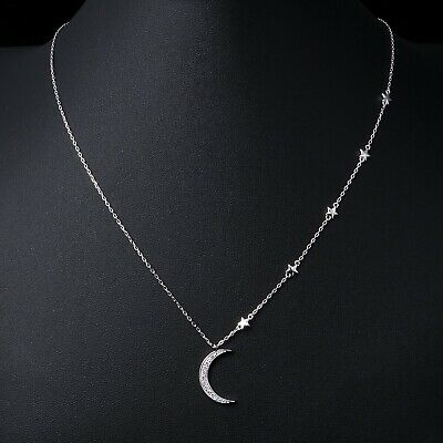 Silver Moon Pendant Necklace