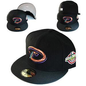 New-Era-MLB-Arizona-Diamondbacks-5950-Fitted-Hat-2001-World-series-Patch-Cap